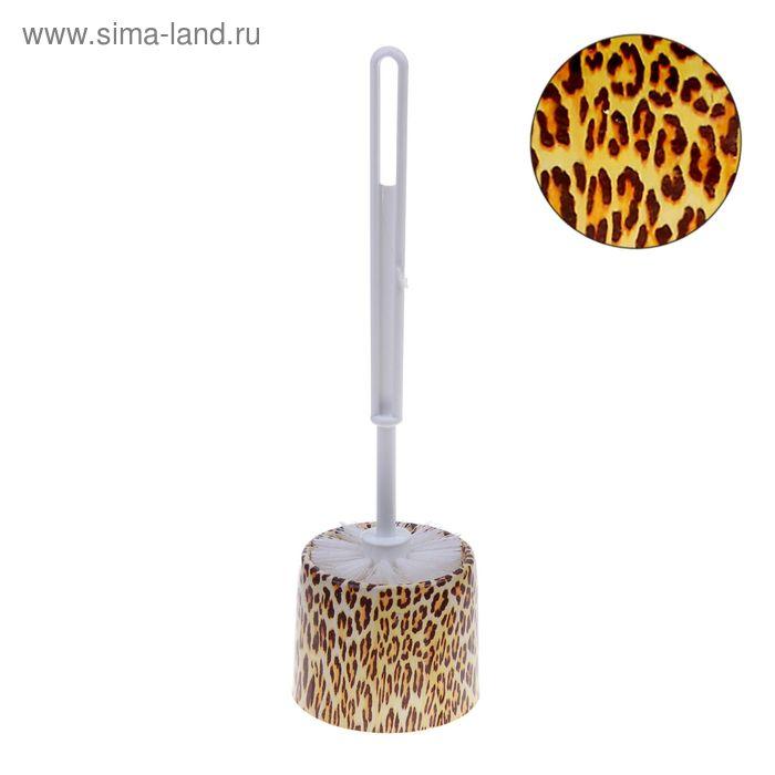 """Ершик для унитаза с подставкой 34х9,5 см """"Леопард"""""""