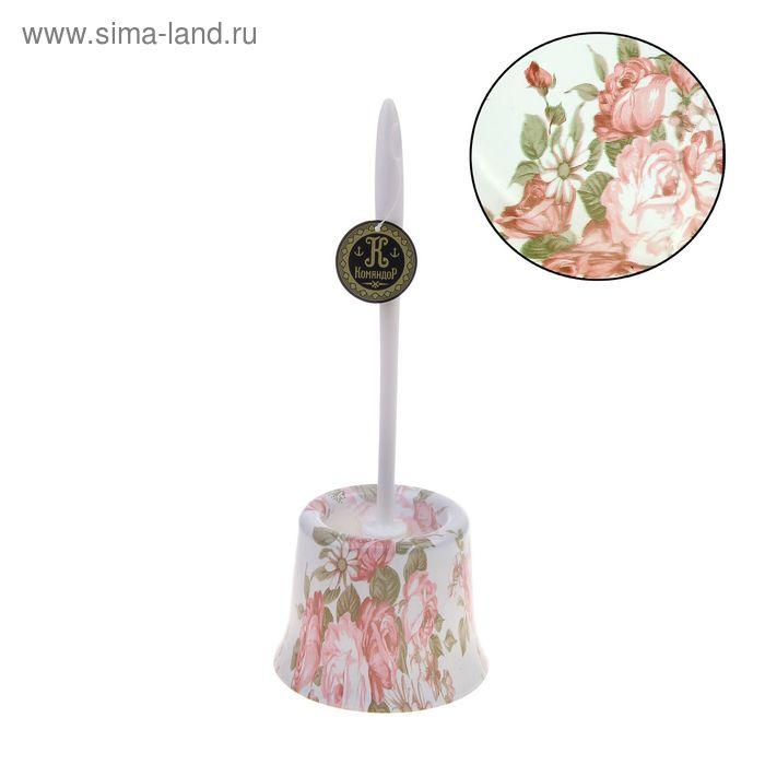 """Ершик для унитаза с подставкой 36х10 см """"Розовый куст"""""""