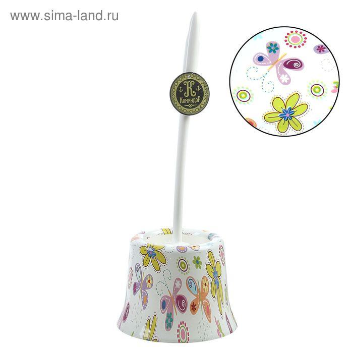 "Ершик для унитаза с подставкой 36х10 см ""Бабочки-цветочки"""