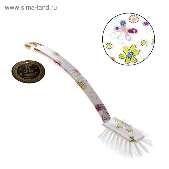 """Щетка для посуды овальная """"Бабочки-цветочки""""25 см"""