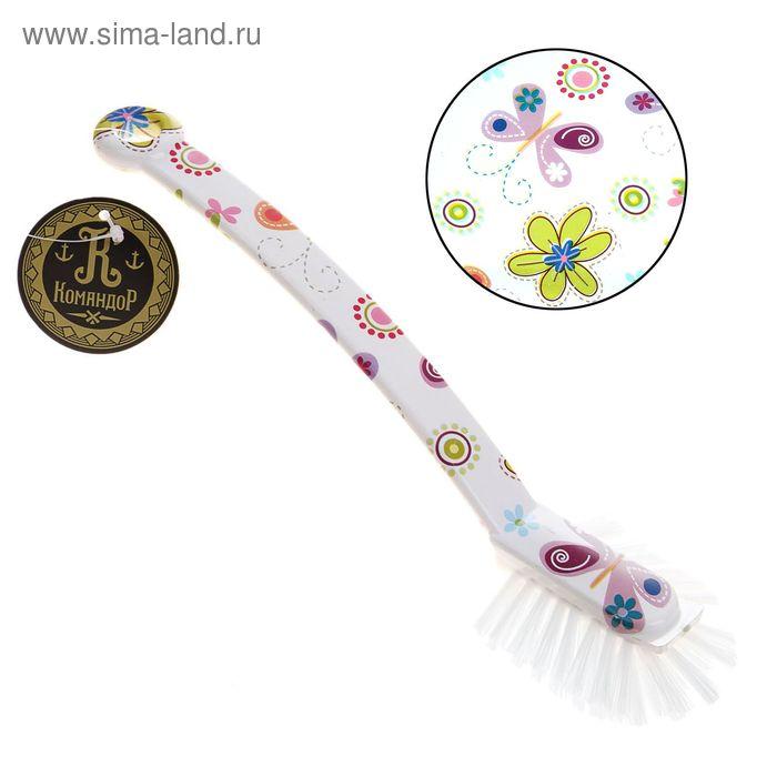 """Щетка для посуды прямоугольная """"Бабочки-цветочки""""25 см"""