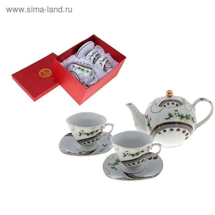 "Сервиз чайный ""Ветка сакуры"", 5 предметов: 2 чашки 220 мл, 2 блюдца, чайник 600 мл"