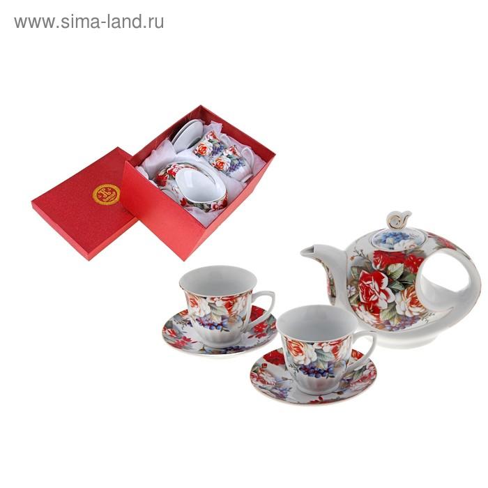 """Сервиз чайный """"Влюбленная роза"""", 5 предметов: 2 чашки 220 мл, 2 блюдца, чайник 600 мл"""