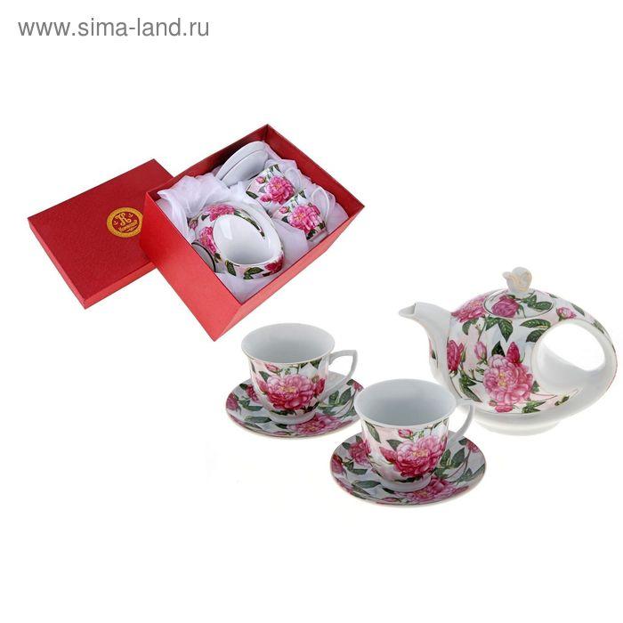 """Сервиз чайный """"Цветущий пион"""", 5 предметов: 2 чашки 220 мл, 2 блюдца, чайник 600 мл"""