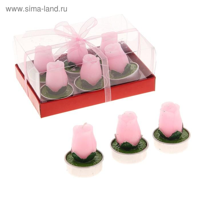 """Свечи восковые (набор 6 шт) """"Бутоны"""", цвет розовый"""