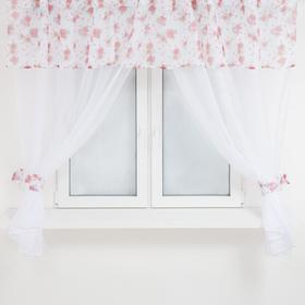 A set of curtains for the kitchen 646 tulle-294x160cm-2pcs, lambrequin 290x40 cm, hooks, polyethylene 100%