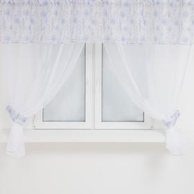 A set of curtains for the kitchen 1282 tulle-294x160cm-2pcs, lambrequin 290x40 cm, hooks, polyethylene 100%