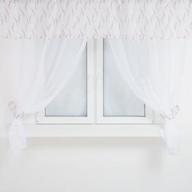 A set of curtains for the kitchen 4062 tulle-294x160cm-2pcs, lambrequin 290x40 cm, hooks, polyethylene 100%