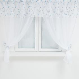 A set of curtains for the kitchen 11485 tulle-294x160cm-2pcs, lambrequin 290x40 cm, hooks, polyethylene 100%