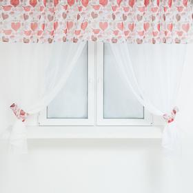 A set of curtains for the kitchen 11832 tulle-294x160cm-2pcs, lambrequin 290x40 cm, hooks, polyethylene 100%