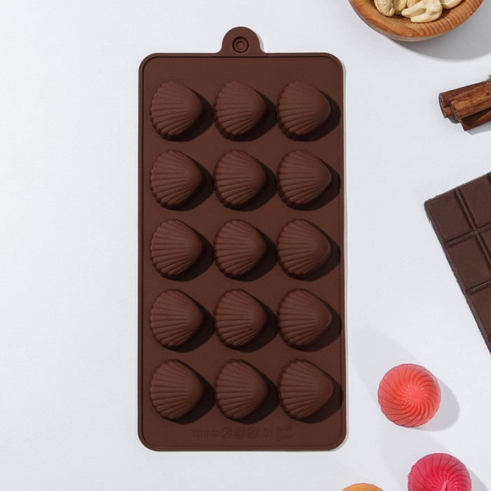 Форма для льда и шоколада «Ракушки», 15 ячеек, цвет шоколадный