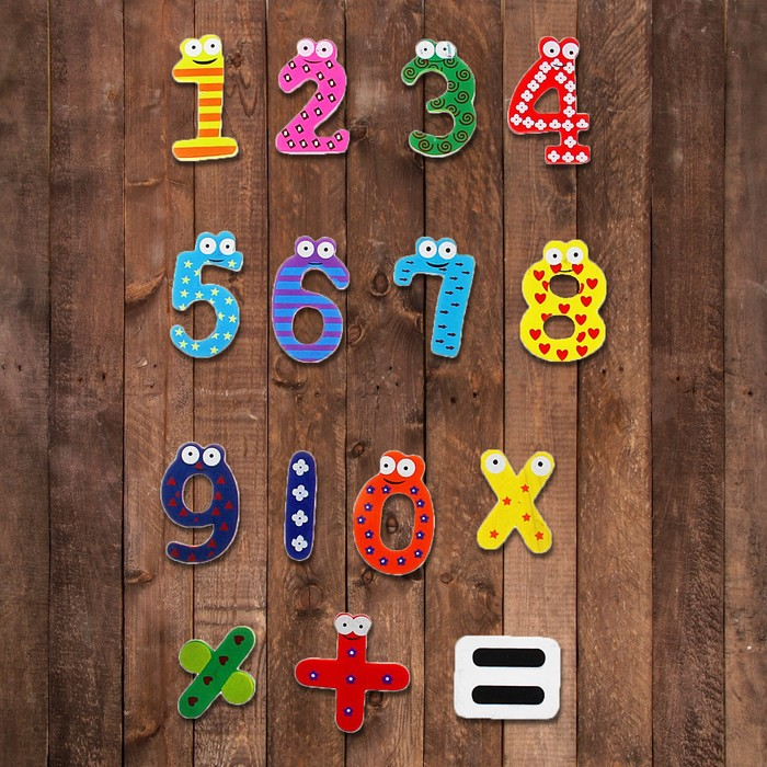 """Цифры и знаки магнитные """"Глазастики"""", набор 15 деталей"""