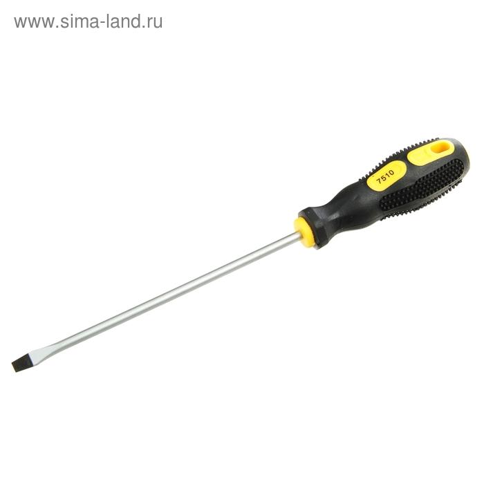 """Отвертка шлицевая, SL 5х125 (-) 5"""", подвес, комбинированная ручка черная с желтым"""