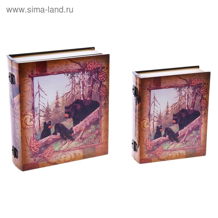 """Шкатулка """"Медведи в чаще"""", в наборе 2 шт"""