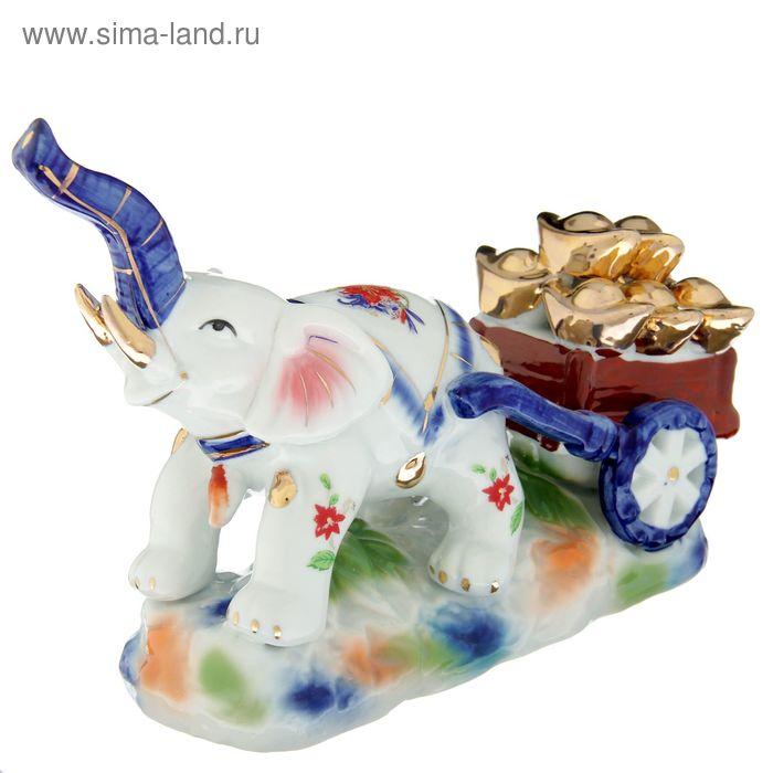 """Нэцкэ """"Слон с тележкой со слитками"""""""