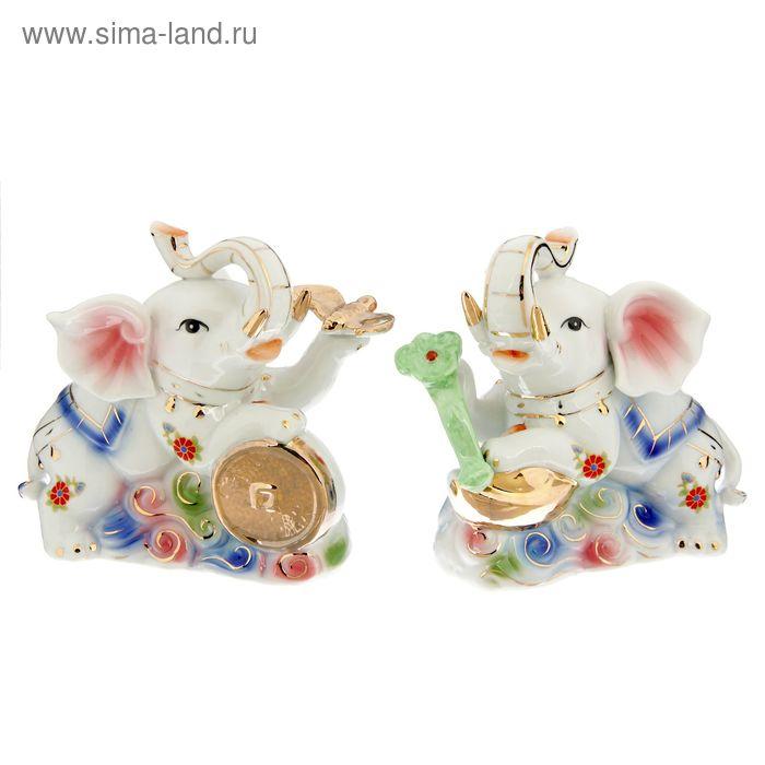 """Нэцкэ """"Слоны с жезлом и фениксом"""", набор из 2-х шт"""