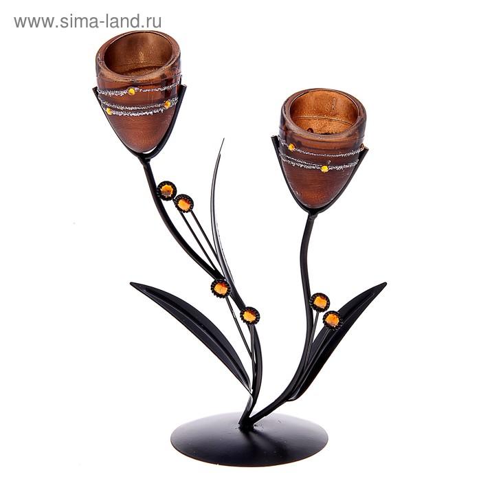 """Подсвечник на 2 свечи """"Пояс ориона"""", цвет кофе"""