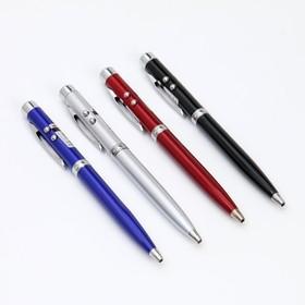 Фонарик-ручка с лазером карманный, 2 диода, цвета МИКС