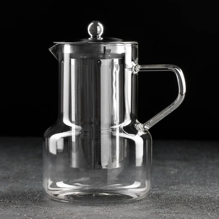 Чайник заварочный «Бингли», 950 мл, 12,5×11×18 см, с металлическим ситом - фото 641314