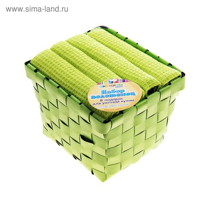 Набор полотенец для кухни Twist Green 38*63 см, 4 шт, вафельное
