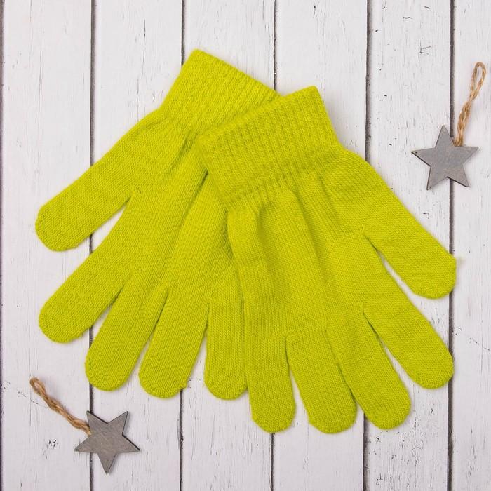 """Перчатки молодёжные """"Однотонные"""", размер 19 (р-р произв. 9,5), цвет зелёный"""