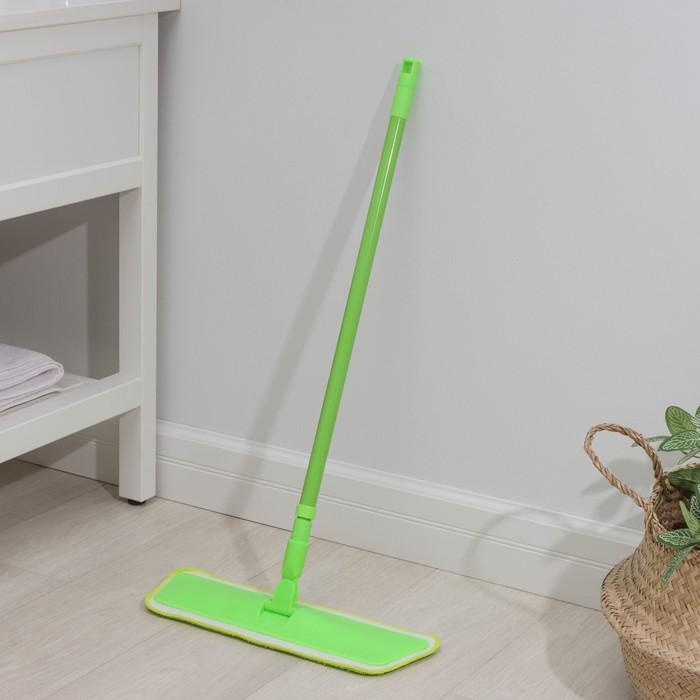 Швабра для мытья пола плоская Доляна, телескопическая ручка 80-120 см, насадка на липучке из микрофибры 40×14 см, 40 гр