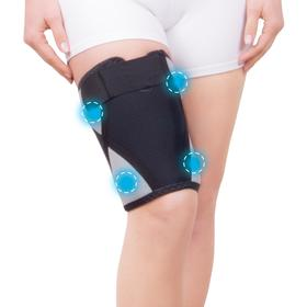 Bandage for the thigh and lower leg with biomagnetic medical applicators -