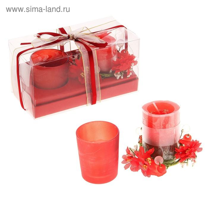"""Свечи восковые (набор 2 шт + декор ) """"Сабрина"""", цвет красный"""
