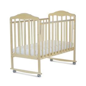 Кровать детская Березка (автостенка, колеса, качалка, накладка ПВХ, береза)