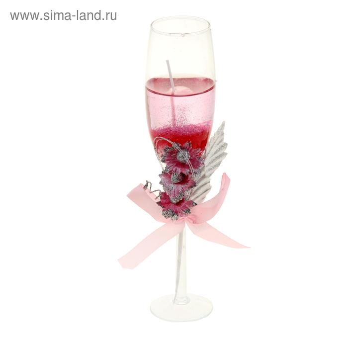 "Свеча гелевая ""Праздничная"", цвет розовый"
