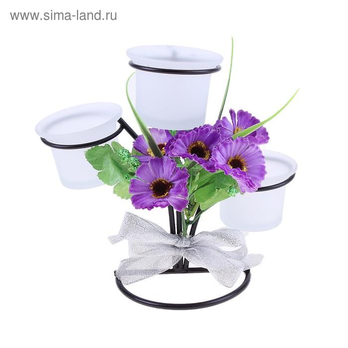 """Подсвечник на 3 свечи """"Полевые цветы"""""""