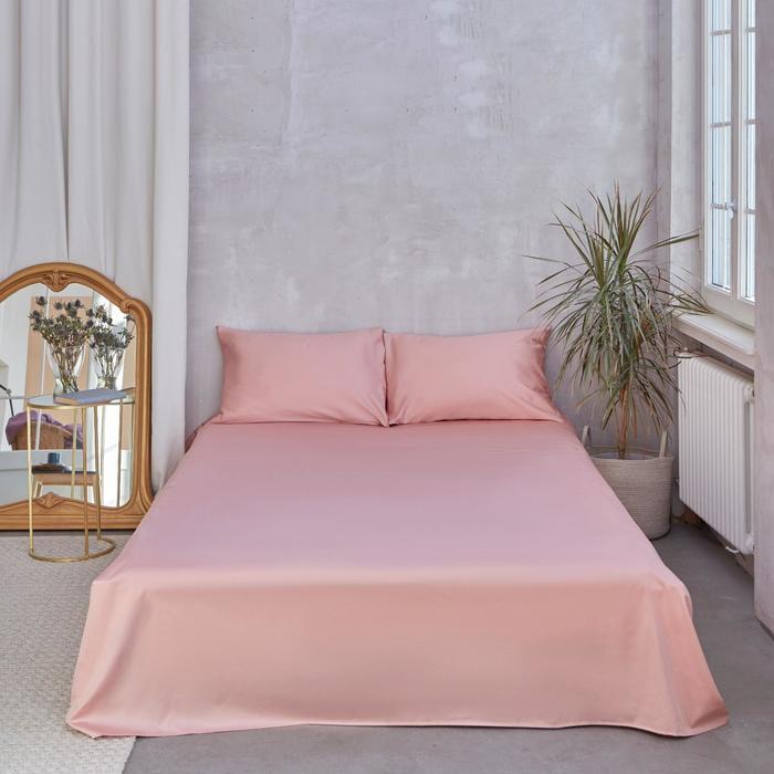 Простыня Этель 150*215 см, цв.розовое золото, 100% хлопок, мако-сатин, 125 г/м² - фото 772762