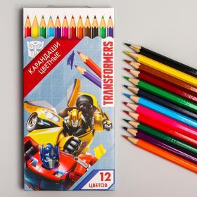 Карандаши цветные, 12 цвета, Transformers