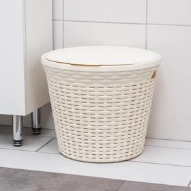 Корзина для белья круглая с крышкой Виолет «Ротанг», 15 л, 32×32×27 см, цвет слоновая кость Ош
