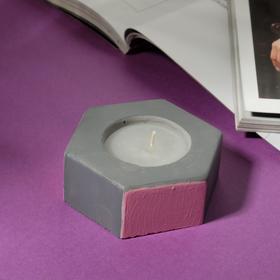Свеча в подсвечнике «Серый и розовый», 7 х 3 х 8 см