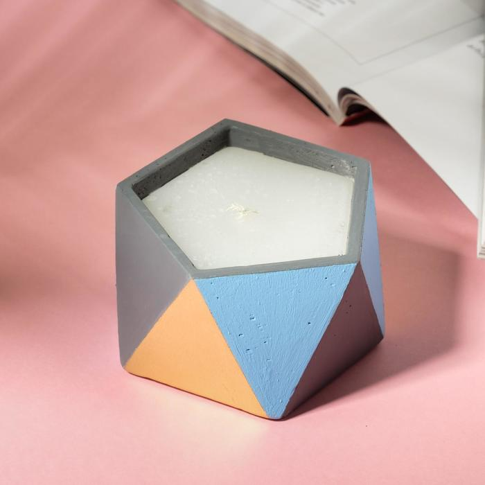 Свеча в подсвечнике «Серый, золотой и голубой», 8,5 х 5,5 см - фото 864080