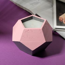 Свеча в подсвечнике «Розовый и серый», 12 х 8,5 см