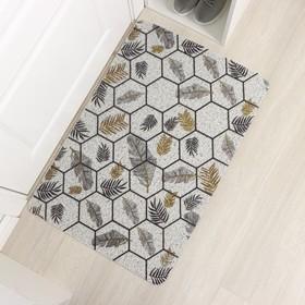Коврик придверный Доляна «Топ», 60×90 см, цвет серый