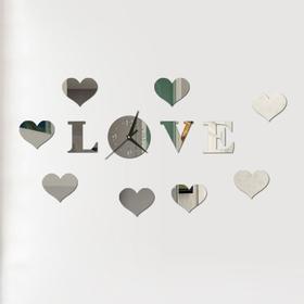 """Часы-наклейка """"Love"""", d часы=15 см, буквы 11 см, сердца 8х6 см, серебро"""