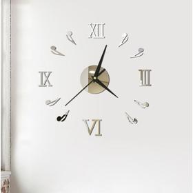"""Часы-наклейка """"Ноты"""", d=45 см,  сек. стрелка 12 см, серебро"""