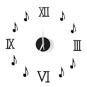 """Часы-наклейка """"Ноты"""", d=45 см,  сек. стрелка 12 см, чёрные"""