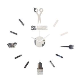 """Часы-наклейка """"Парикмахер"""", d=45 см,  сек. стрелка 12 см, серебро"""