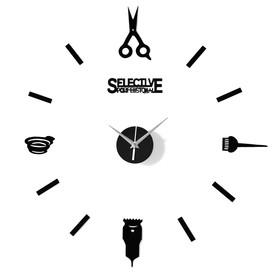 """Часы-наклейка """"Парикмахер"""", d=45 см,  сек. стрелка 12 см, чёрные"""