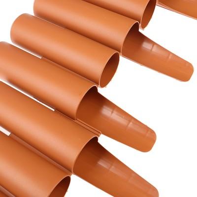 Ограждение декоративное, 24 × 265 см, 10 секций, пластик, коричневое