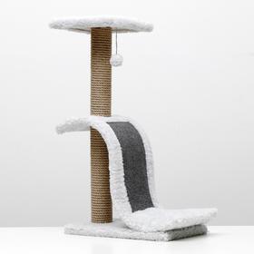 "Когтеточка ""Волна"" с площадкой, джут, ковролин, 42 х 25 х 74 см, светло-серый"