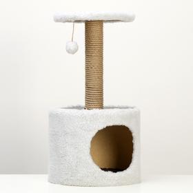 Домик с когтеточкой круглый, 34 х 34 х 64 см, светло-серый