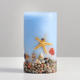 "Свеча - цилиндр ароматическая ""Море"", 8х14 см, синий"