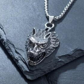 """Кулон-амулет """"Помпеи"""" волк, цвет чернёное серебро, 70 см"""