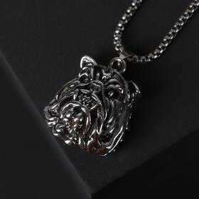 """Кулон-амулет """"Помпеи"""" бульдог, цвет чернёное серебро, 70 см"""