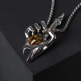 """Кулон-амулет """"Помпеи"""" свечка в руке, цвет жёлтый в чернёном серебре, 70 см"""